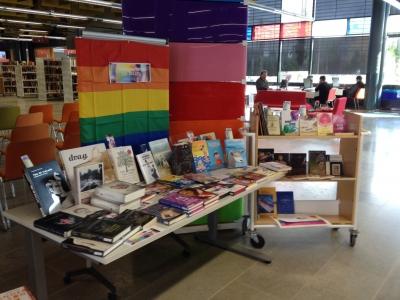 Kuvassa näkyy Entressen kirjapöytä osana Helsinki Pride 2015 -viikkoa. Pöydällä hlbti -kirjallisuutta ja pöydän takana iso satakaarilippu.