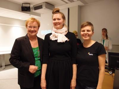 Tarja Halonen, Katriina Rosavaara ja Aija Salo