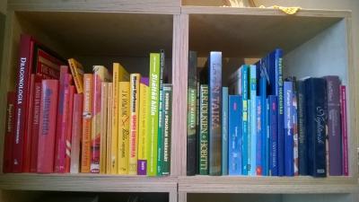 Kirjahylly jossa kirjastot on järjestetty sateenkaaren väreihin