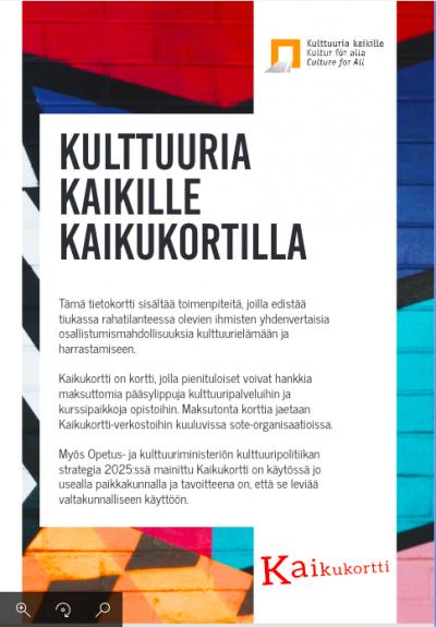 Kaikukortti-faktabladets framsida på finska.