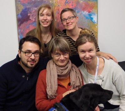 The staff of Culture for All. Outi, Rita, Petr, Sari, assistant dog Ninnu and Aura