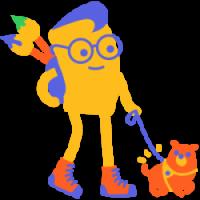Dida-hahmo siveltimien ja opaskoiran kanssa