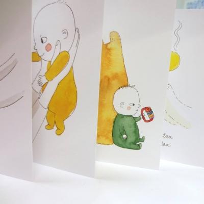 Vesiväreillä kuvitettuja vauvakortteja