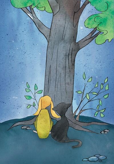 Kuvituskuva jossa kissa ja koira puun juurella