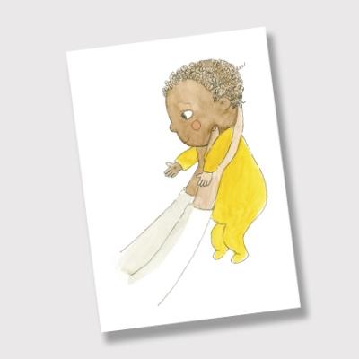 Vesivärikortti jossa tummaihoinen vauva keltaisessa asussa