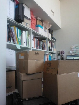 Bookshelf, shelves full of books & paper, boxes on the floor