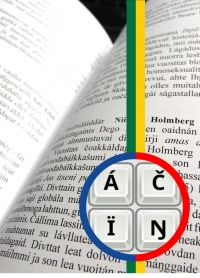 The picture includes pages of a book written in Northern Sámi, a circle and lines with colors of Sámi flag and inside the circle special characters used in typing Northern Sámi.