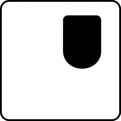 Symbol of one-sided access wc (left-hand side), mirror-image WC