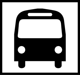 Valkoisella pohjalla musta bussi edestäpäin