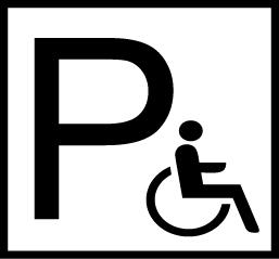 Esteettömän pysäköinnin symboli: P-kirjain ja pyörätuoli
