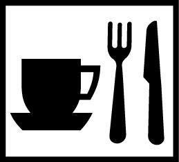 Valkoisella pohjalla vierekkäin musta kahvikuppi, haarukka ja veitsi