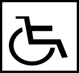 Valkoisella pohjalla musta pyörätuoli