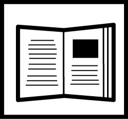 Valkoisella pohjalla mustareunainen avonainen kirja jossa on tekstiä