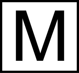 Valkoisella pohjalla musta M-kirjain