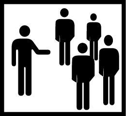 Valkoisella pohjalla mustalla neljä hahmoa seisomassa ryhmässä ja yksi hahmo heidän edessään käsi ojennettuna
