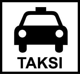Valkoisella pohjalla musta auto edestäpäin ja auton alla mustalla teksti TAKSI