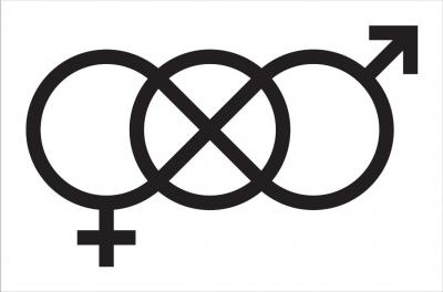 Unisex-symboli (uros- ja naaras -merkit menev�t ristiin ja muodostavat my�s ��ret�n-symbolin ja keskelle raksin